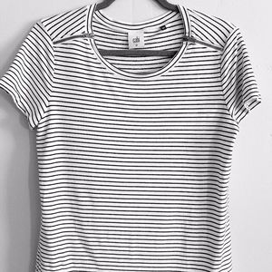 Cabi Black and White Striped Zipper Tee